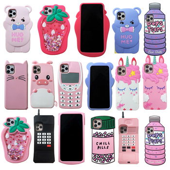 For iPhone 6 7 8 Plus X XR XS Max 11 Pro Max 3D Cute Cartoon Animal Soft Silicone Case Phone Back Cover Shell Skins Shockproof