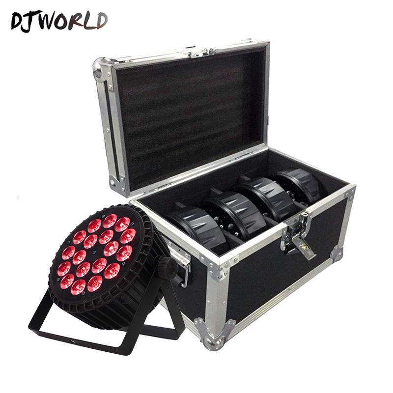 Djworld  Aluminum Alloy LED 18x12W RGBW 4in1/18x18W RGBWA UA 6in1 Flat Par Lights DMX512 DJ Disco Ballroom KTV Bar Clubs Party