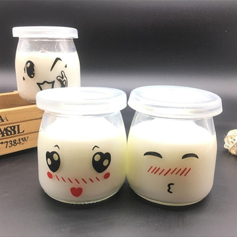 12pcs 200ml Pudding Bottle Glass Bread Store Cute Bottle Heat-Resistant Yogurt Containers Milk Cup Jelly Jar For Home Shop