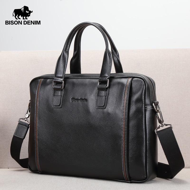 BISON DENIM Genuine Leather Men Bag Laptop Briefcase Male Famous Brand Crossbody Bag Business Men's Handbag Shoulder Bag N2739-4