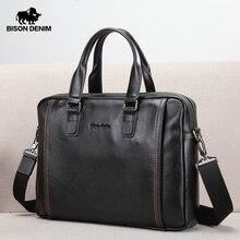 BISON DENIM Genuine Leather Men Bag Laptop Briefcase Male Fa