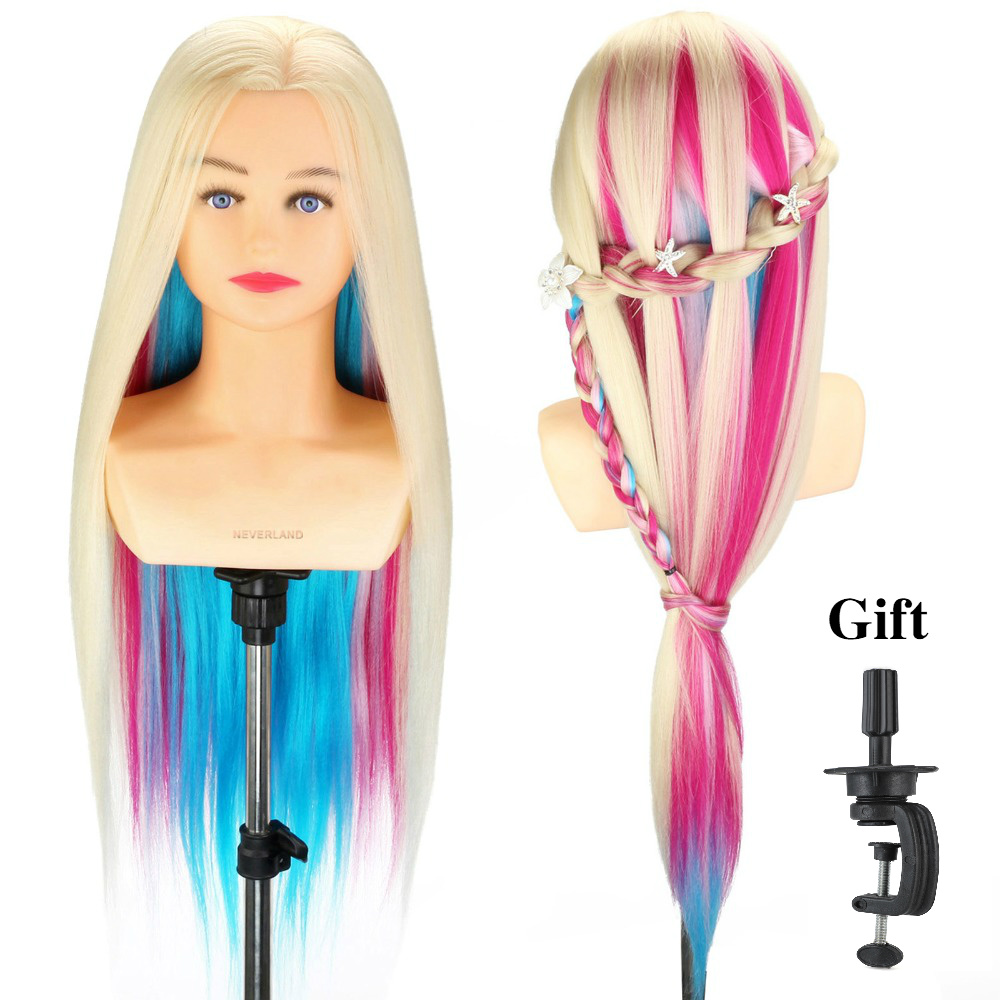 Neverland 26''-28'' Rainbow Training Mannequin Head With Shoulder For Practicing Hairdressing Hairstyles Wig Doll Head +Clamp