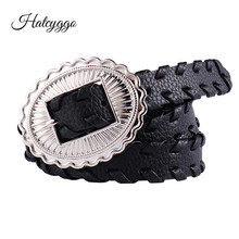 HATCYGGO Female Belts Pu Leather For Women Waist Belt Designer Buckle Ladies Black Thin Dress Waistband