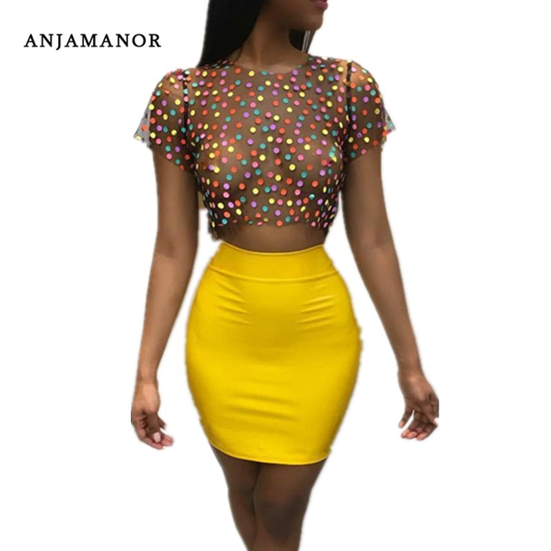 Women Sexy 2 Piece Set Polka Dot Mesh Tshirt Crop Top And Skirt Short Sets Two Piece Club Outfits Bodycon Dress D34-I76