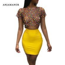 Vrouwen Sexy 2 Delige Set Polka Dot Mesh Tshirt Crop Top en Rok Korte Sets Tweedelige Club Outfits Bodycon jurk D34-I76(China)