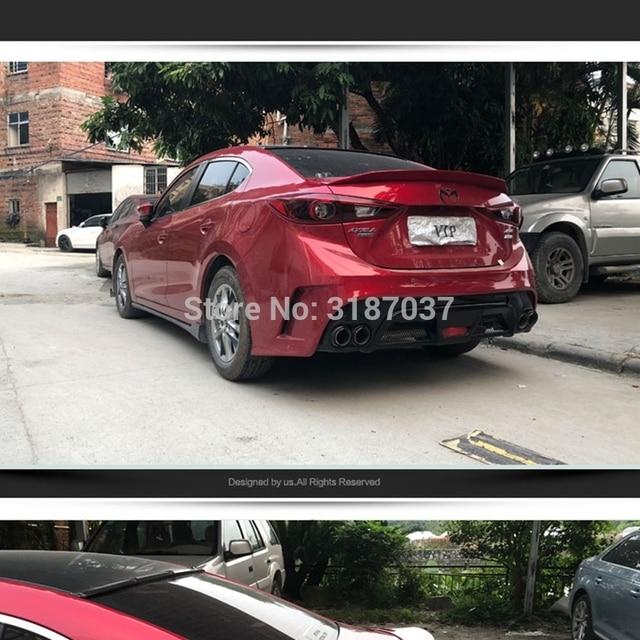 Für Mazda 3 Axela limousine 4 türen 2014 -2017 ABS Kunststoff Unlackiert Farbe Hinten Dach Spoiler Flügel Stamm Lippe boot Abdeckung Auto Styling