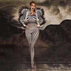Neue Mode Zebra Muster Overall Frauen Singer Sexy Bühne Outfit Bar DS Dance Cosplay Body Leistung Zeigen Kostüm