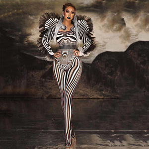 New Fashion Zebra Pattern Jumpsuit Women Singer Sexy Stage Outfit Bar DS Dance Cosplay Bodysuit Performance Show Costume