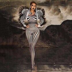 Nieuwe Mode Zebra Patroon Jumpsuit Vrouwen Zanger Sexy Stage Outfit Bar Ds Dance Cosplay Bodysuit Prestaties Tonen Kostuum
