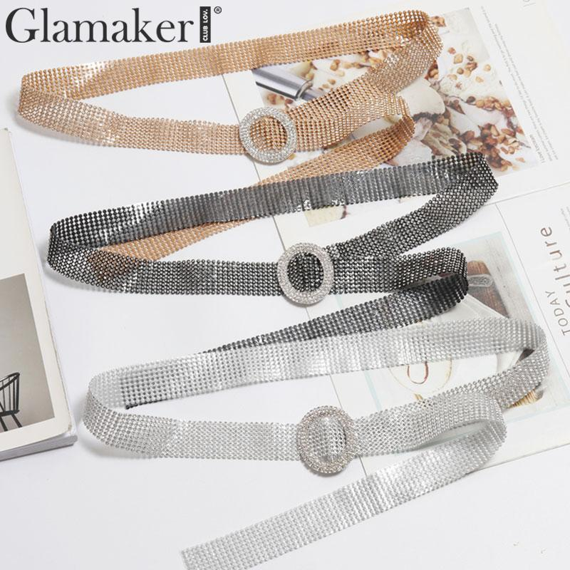 Glamaker Diamond Glitter Belt Pvc Accessories Women Wide Belt For Dress Female Korean Fashion 2019 Vintage Waistbelt Plus Size