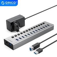 ORICO Industrielle USB 3,0 HUB 7/10/13/16 Aluminium USB Splitter Auf/Off Schalter Mit 12V Power Adapter Unterstützung Lade für Computer