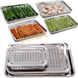 Drain-Tray Chicken-Plates Stainless-Steel Double-Layer Kitchen-Accessories Fried Multifunctional