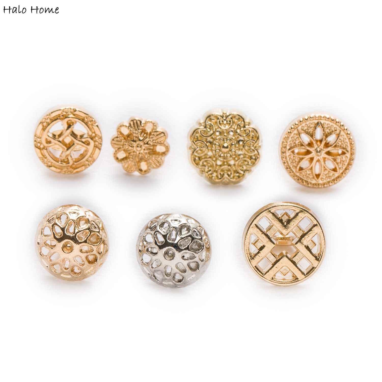 10 sztuk Hollow okrągłe małe metalowe guziki do naprawy odzieży do szycia zastąpić Decor Handmade rzemiosło prezenty tkaniny