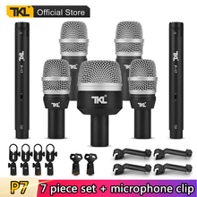 TKL Professional 7 Piece Drum Kit Instrument Microphone for Bass Amp Toms Snare Drum Microphone Set with Flight Case 10pcs bass snare drum sound off mute silencer drumming rubber practice pad set professional dropshipping