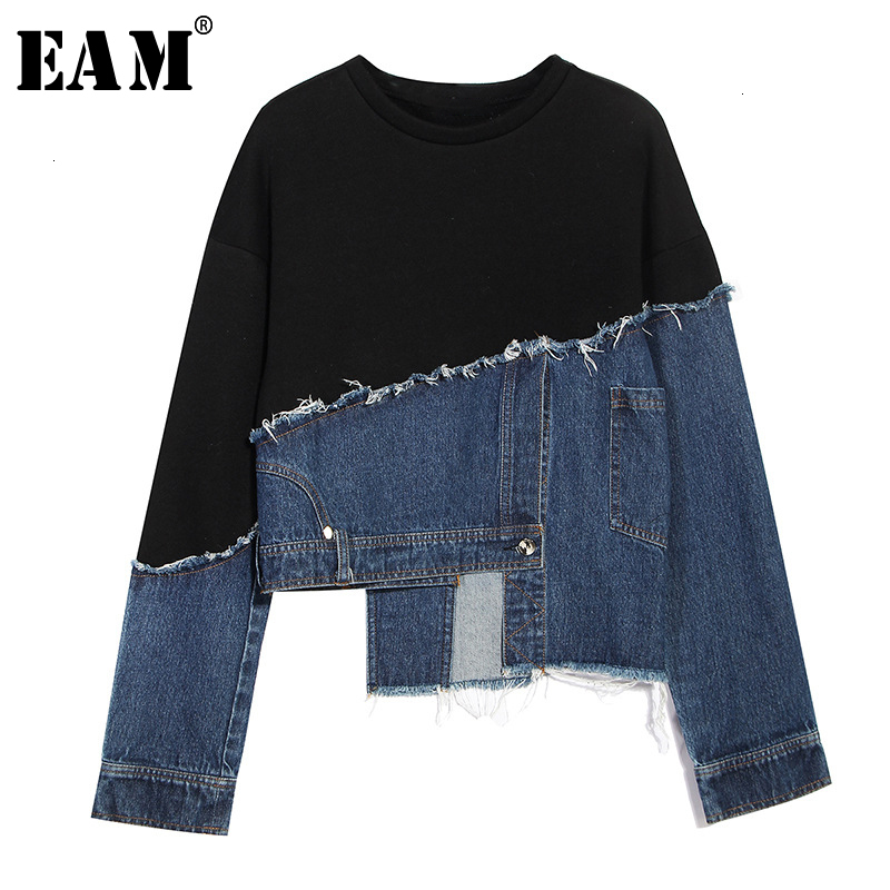 [EAM] Loose Fit Black Denim Burr Split Joint Sweatshirt New Round Neck Long Sleeve Women Big Size Fashion Tide Spring 2020 1M879