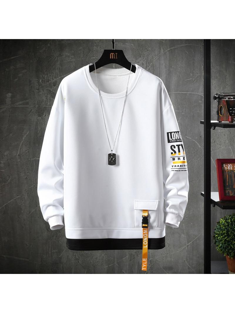 Harajuku Hoodies Sweatshirt Men Men Streetwear Solid-Color Casual Cotton Spring Autumn