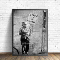 Banksy Art Love Is The Answer Black White Graffiti Street Wall Art Pictures Canvas Posters Home Decor Painting HD Printed Framed