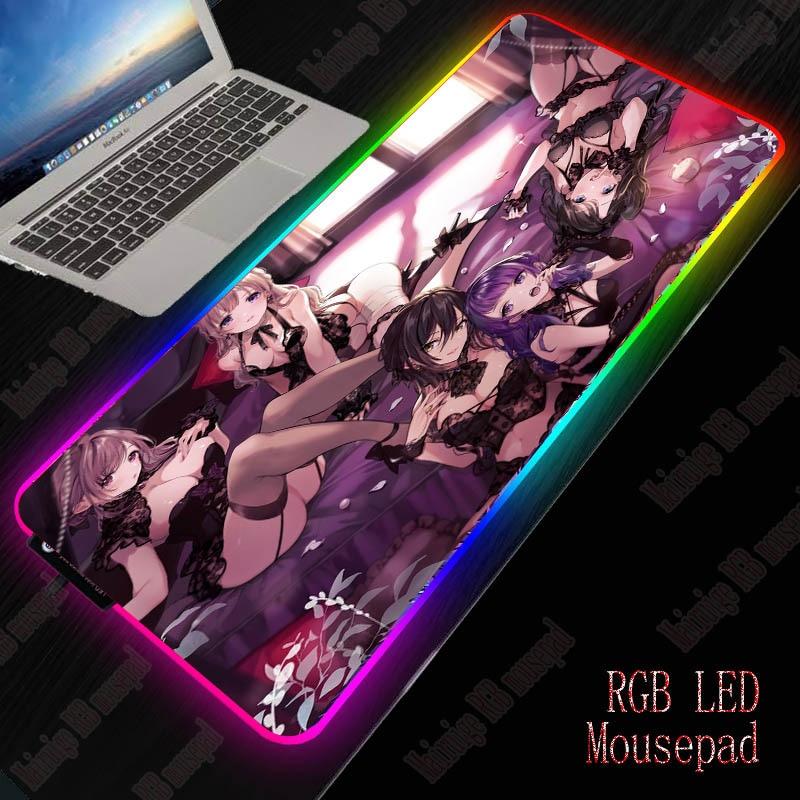 XGZ Anime Sexy Girl Gaming Large Mousepad RGB Computer Mouse Pad Gamer Desk Backlit Mat Xxl Keyboard Pads LED Backlight Mauspad