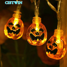 Halloween Light Strings Decorative String Lights Battery LED Lamp Series Pumpkin Ghost Spider Skeleton Frame Bats