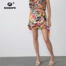 ROHOPO Ruffled Floral Flared Woman Autumn Skirt Short Bow Waist Gradient Ladies Pleated Buttom #2379