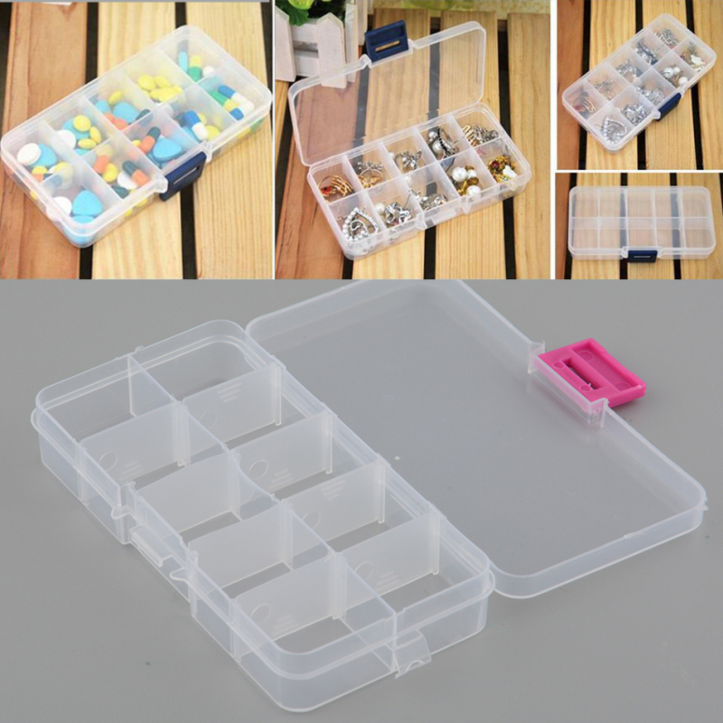 10 Slots Divided Storage Box Case Plastic Clear Empty Jewelry Earrings Rings Small Beads Detachable Organizer Holder Container
