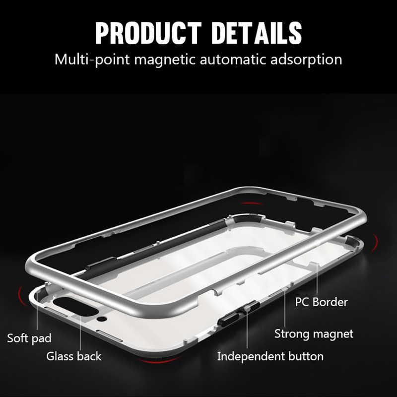 المعادن المغناطيسي فليب حقيبة لهاتف أي فون XR XS ماكس X 8 زائد 7 زائد الزجاج المقسى المغناطيس الوفير الغطاء الخلفي ل فون 7 6s 6 زائد حالة