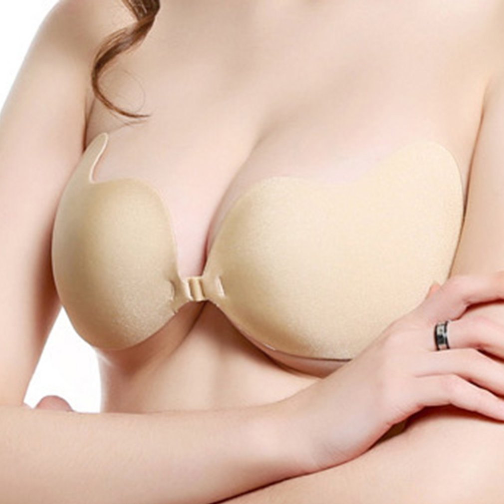 Self Adhesive Invisible Bras For Women Sexy Lingerie Seamless Silicone Sticky Bralette Strapless Front Closure Push Up Bra