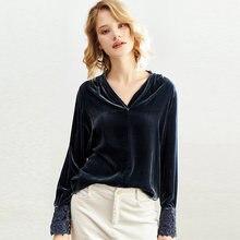 Женская бархатная блузка с вышивкой однотонная Повседневная
