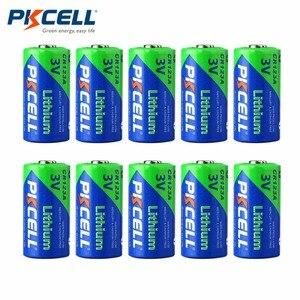 PKCELL 10 шт./компл. высокая производительность CR123A 3,0 V 1500MAH не перезаряжаемая батарея прочная литиевая батарея для светодиодный фонарик
