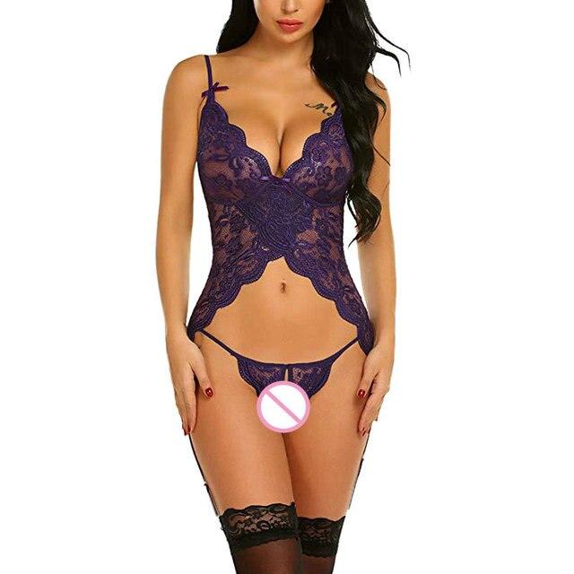 Porno femmes Sexy Lingerie chaude érotique dentelle Push Up haut sexe culottes vêtements de nuit chemise de nuit Sexy tenue pour les femmes