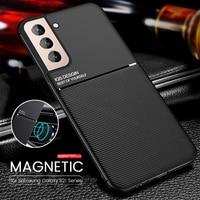 Funda de teléfono con textura de cuero para samsung galaxy s21 fe s 21 ultra plus, soporte magnético de silicona a prueba de golpes
