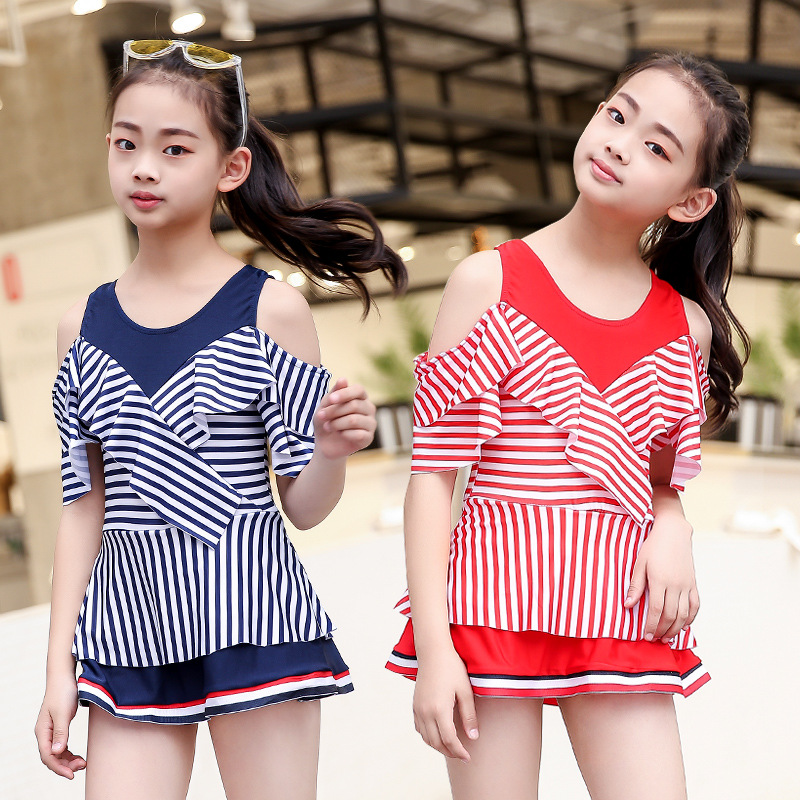 2019 New Style KID'S Swimwear Cute Navy Style Half Sleeve Dress Middle And Large Girls Students GIRL'S Bathing Suit