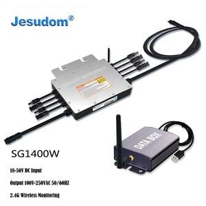 1400 Вт PV смарт микро инвертор IP65 MPPT Водонепроницаемая сетка галстук инвертор вход 18-50VDC до 100-240VAC с коллектором мониторинга
