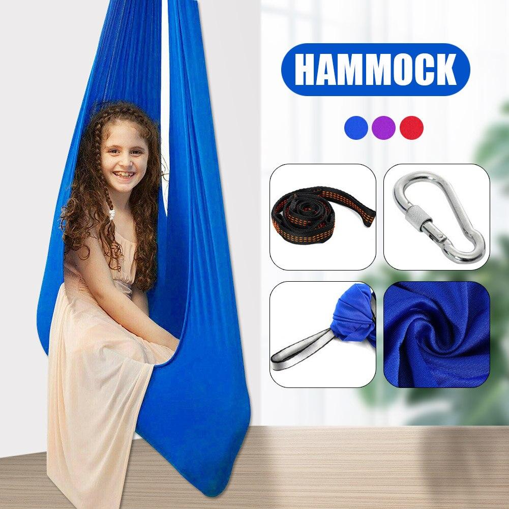 Kids Indoor Outdoor Swing Autism Aspergers Sensory Cuddle Children Elastic Hanging Hammock RT88