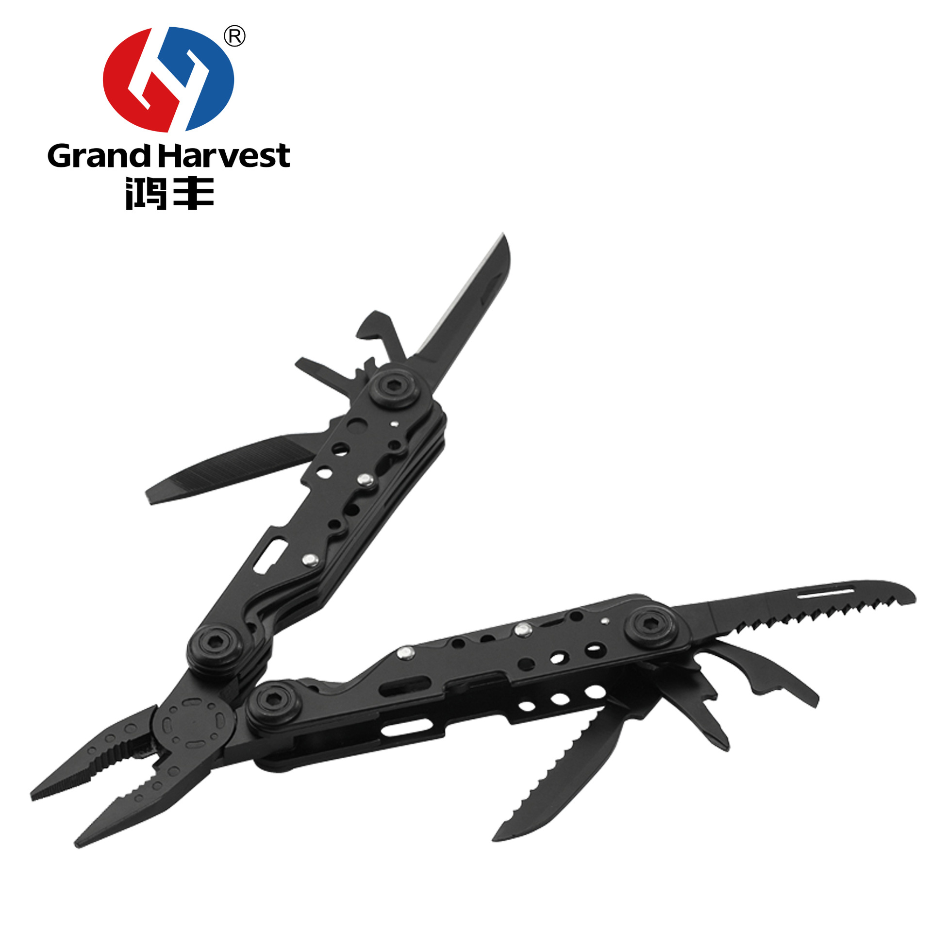 GHK-PL25 Outdoor Camping Hardware Multi-Purpose Tool Pliers Customizable Stainless Steel Folding Knife Clamp