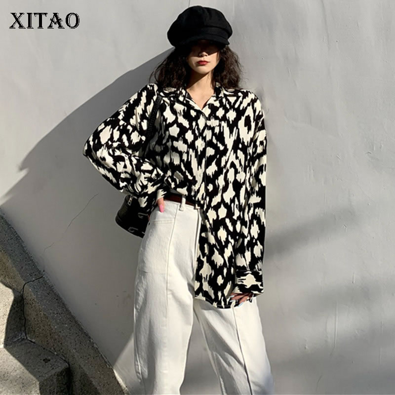 XITAO Vintage Print Pattern Blouse Fashion 2020 Spring Elegant Full Sleeve Single Breast Goddess Fan Casual Loose Shirt DMY2975