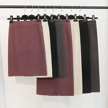 RICORIT Elastic Band Skirt Women Winter Knitted Skirt Female Straight Ribbed 50-70cm Mid-length Skirts 10 Multiple Color 2