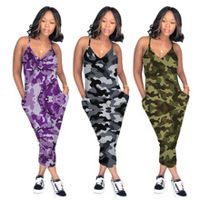 2020 Jumpsuit Women Camouflage Jumpsuit Spaghetti Strap V-Neck Sleeveless Pockets Sling Rompers Casual Summer Jumpsuit collared overlap v neck jumpsuit
