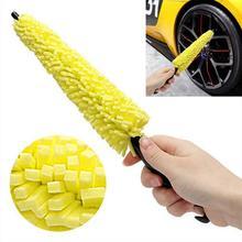 Портативная Автомобильная щетка для колес, щетка для очистки обода колеса с пластиковой ручкой для удаления грязи, детализирующий очистите...