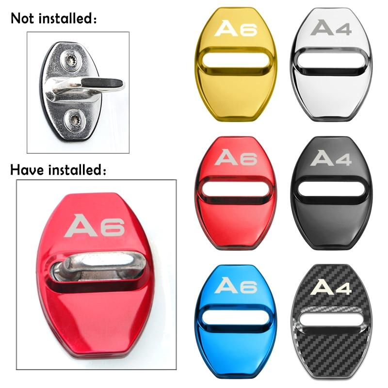4pcs Car Buckle Door Lock Cover Door Holder Protector Cover Auto Fit For Audi A1 A3 A4 A5 A6 A7 A8 Q3 Q5 Q7 S8 TT