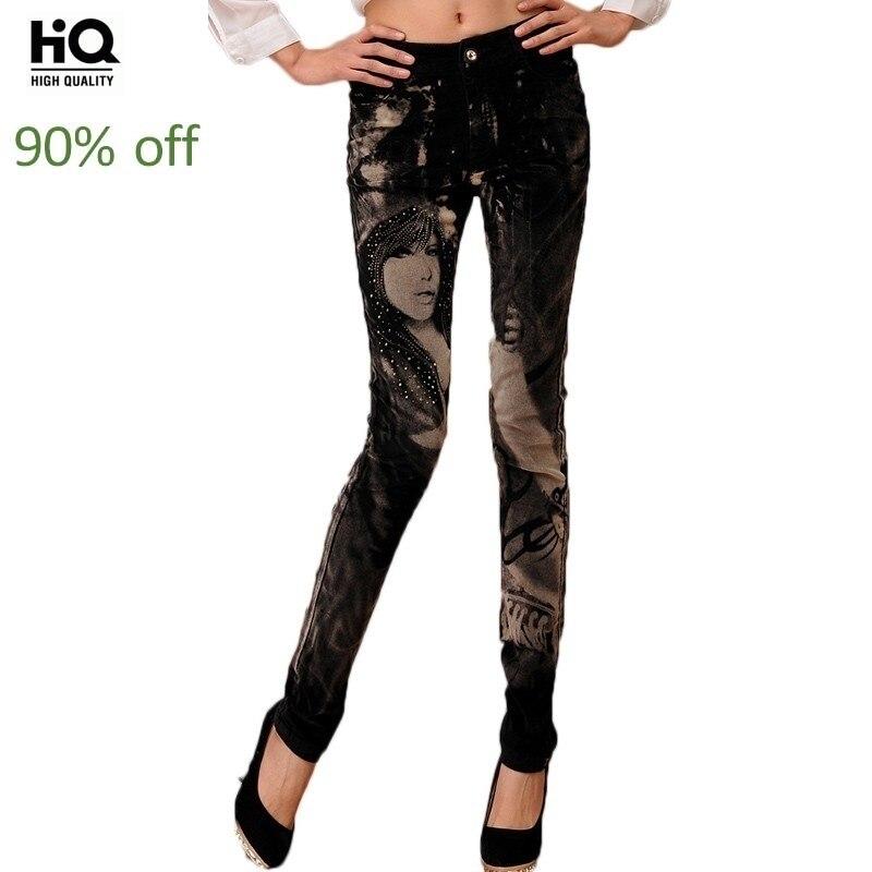 Autumn High Waist Printing Pattern Thick Denim Pants Women Streetwear Slim Jeans Fashion Harajuku Pencil Pants Female 2020 New