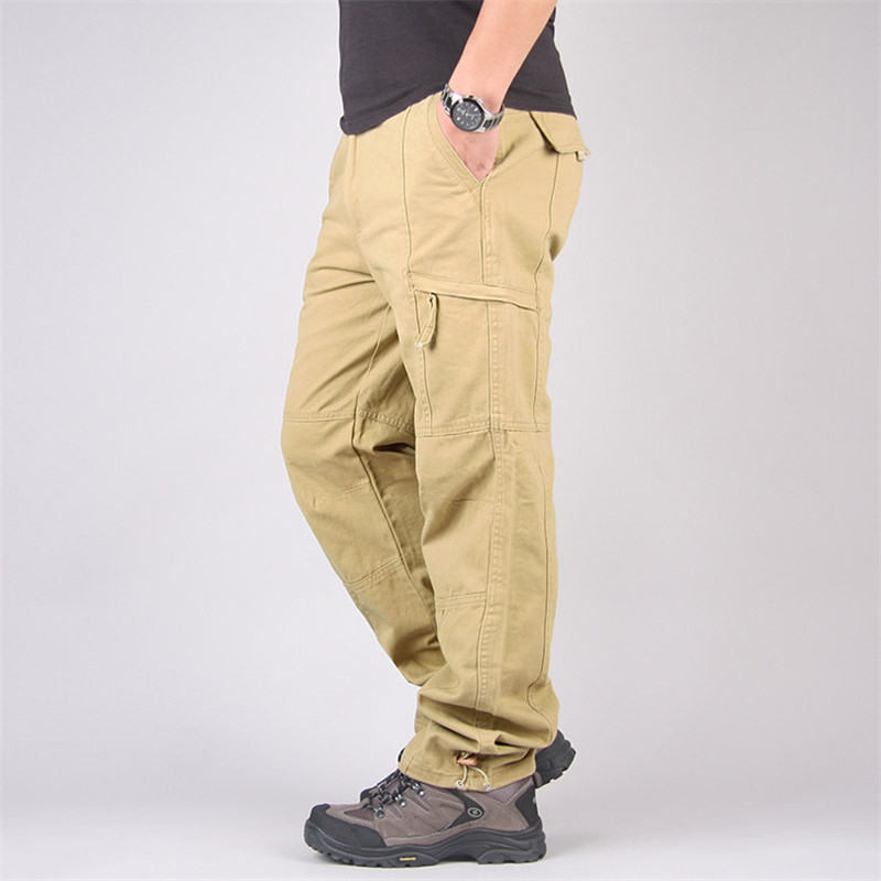 Nice Autumn Cargo Pants Men Spring Casual Cotton Long Trousers Streetwear Army Straight Slacks Military Tactical Pants Overalls