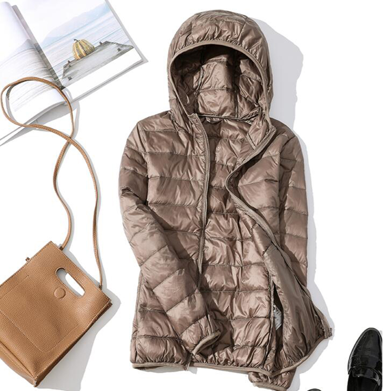 Down Jacket Women Hooded Ultra Thin 90% Ultra Light White Duck Down Coat Female Winter Plus Size Solid Portable Warm Jackets