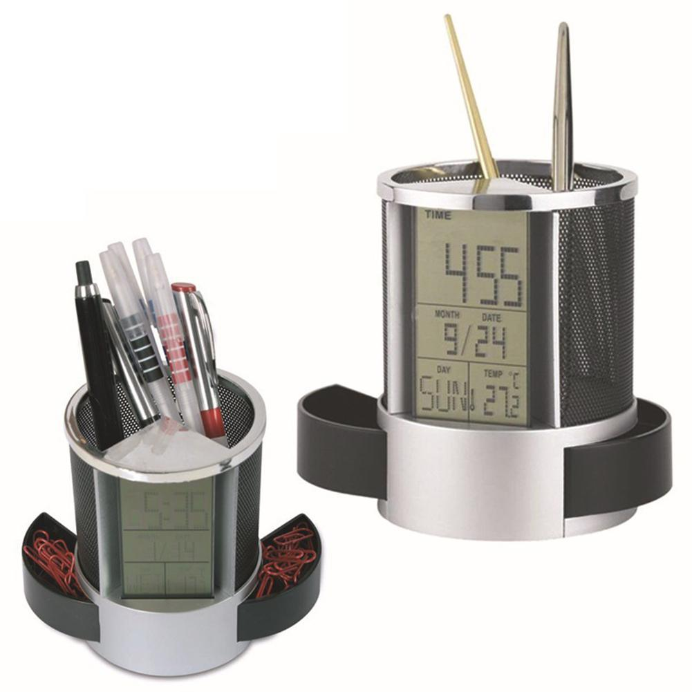 Office LCD Countdown Function Alarm Clock Time Temperature Display Pen Pencil Holder Durable Desk Organizer