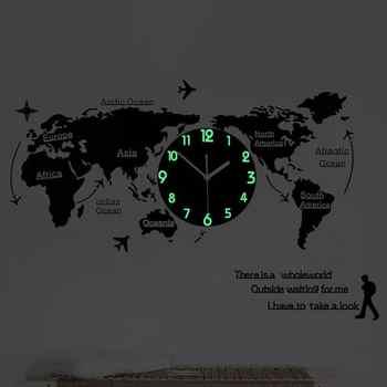 Luminous Wall Clock Acrylic Silent World Map Wall Clock Creative Mute Clock Wall Lamp For Home Office Living Room (No Battery)