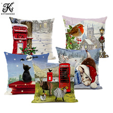 Christmas Pillow Set Merry Decoration Santa Claus Throw 45*45cm Linen Cushion Cover  Double Print