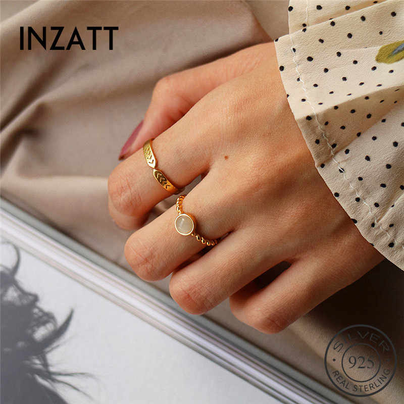 INZATT Real 925 Sterling Silver Round Stone Ring For Fashion Women Trendy Punk Fine Jewelry Minimalist Accessories 2019 Gift