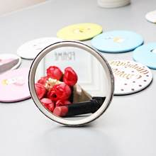 Portable Girls Ladies Lovely Cute Cartoon Hand Pocket Cosmetic Mirror Round Mini Makeup Mirror(China)