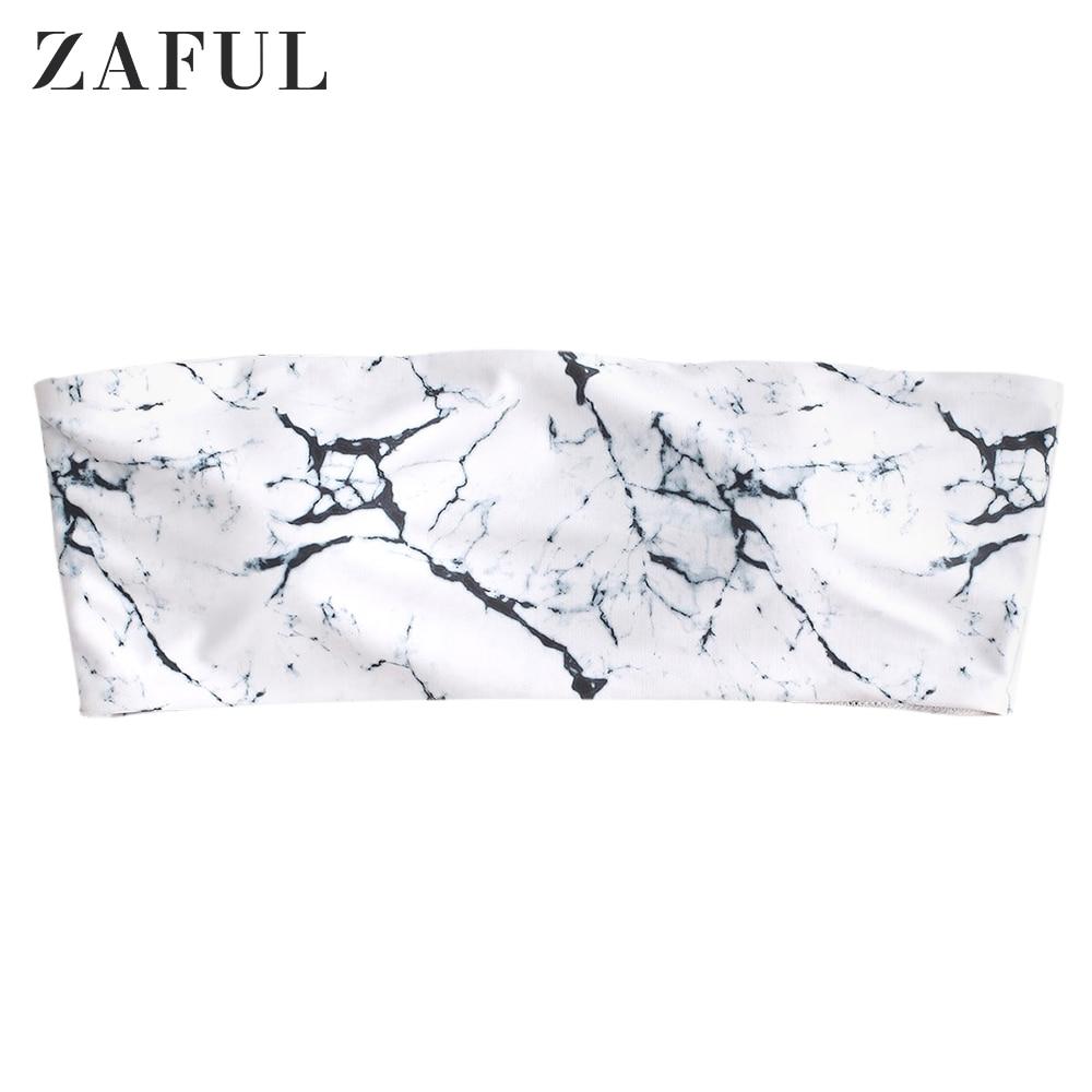 ZAFUL Marble Print Boning Side Bandeau Bikini Top Padded Wire Free Bikini Top 2020 Summer New Strapless Women Swim Bikini Top