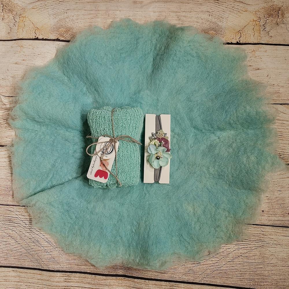 Don&Judy Handmade Round Blanket+ Wrap+Headband Layer Wool Felt Fleece Super Soft Basket Filler Stuffer Newborn Baby Photography